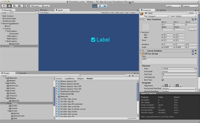 Making a Checkbox Widget — Leap Motion Unity SDK v2 3 documentation