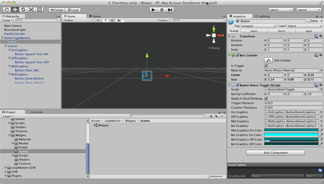 Making a Checkbox Widget — Leap Motion Unity SDK v2 3
